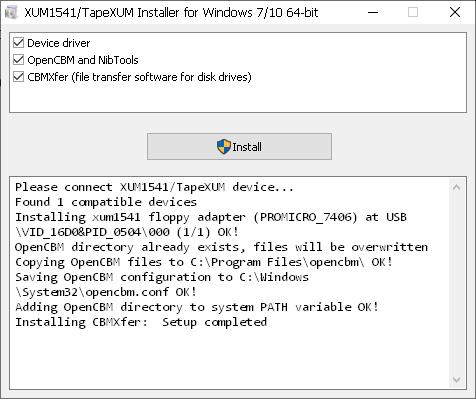 XUM 1541/Installer Screenshot
